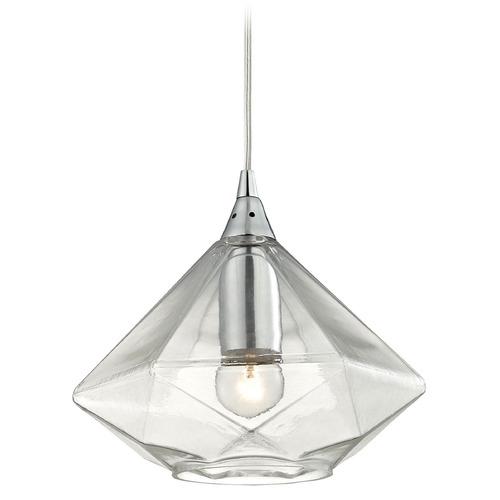 Elk Lighting Elk Lighting Geometrics Polished Chrome Mini-Pendant Light with Conical Shade 10440/1
