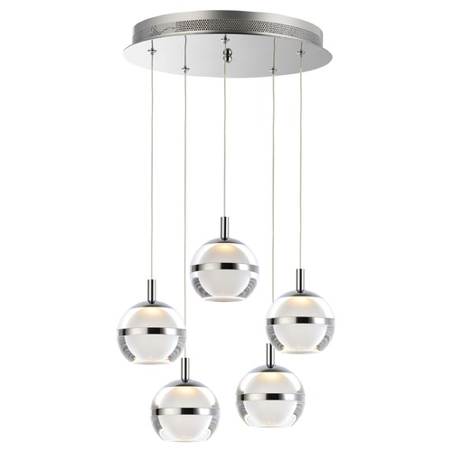 ET2 Lighting ET2 Swank Polished Chrome LED Multi-Light Pendant with Globe Shade E24595-93PC