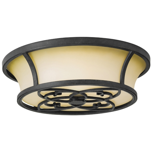Feiss Lighting Flushmount Light with Beige / Cream Glass in Antique Forged Iron Finish FM276AF