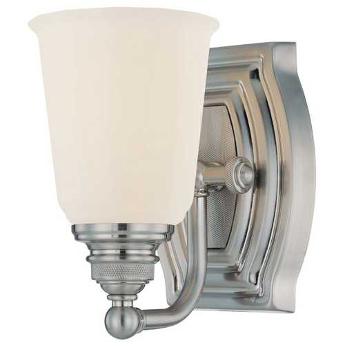 Minka Lavery Sconce with White Glass in Brushed Nickel Finish 6451-84