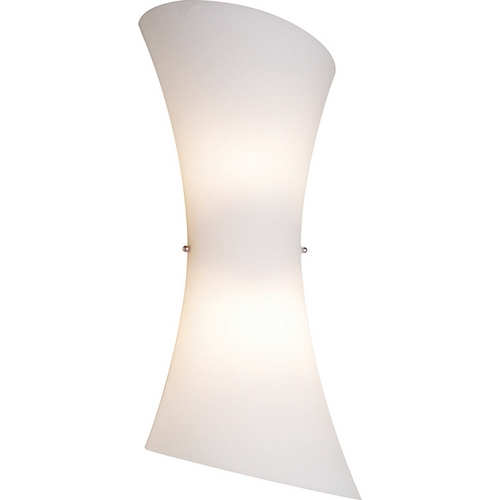 ET2 Lighting Modern Sconce Wall Light with White Glass in Satin Nickel Finish E20412-09