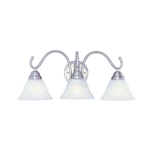 Maxim Lighting Bathroom Light with White Glass in Satin Nickel Finish 12068MRSN