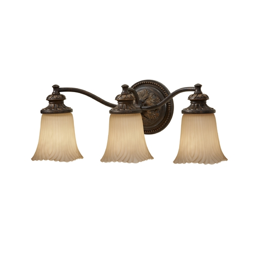Home Solutions by Feiss Lighting Bathroom Light with Beige / Cream Glass in Grecian Bronze Finish VS19503-GBZ