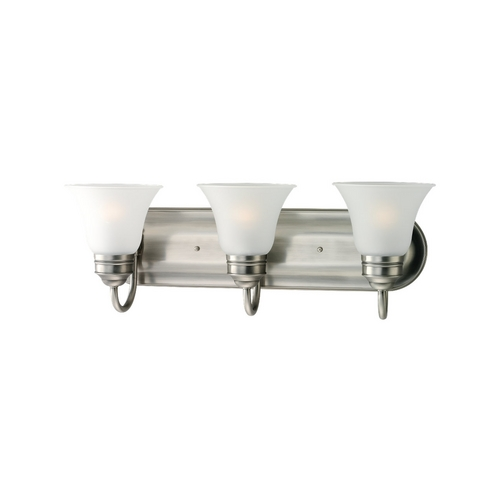 Sea Gull Lighting Bathroom Light with White Glass in Antique Brushed Nickel Finish 44852-965