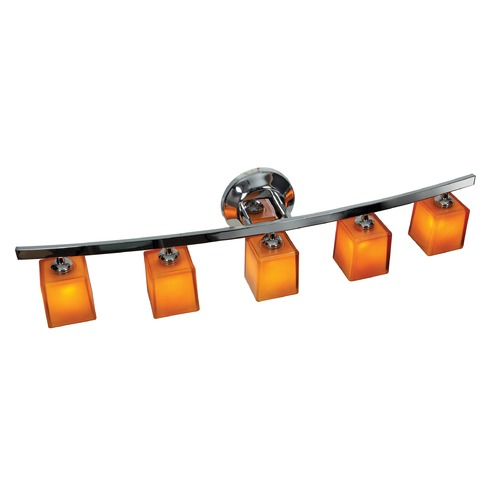 Access Lighting Modern Bathroom Light with Amber Glass in Chrome Finish 63815-18-CH/AMB