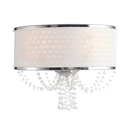 Crystorama Lighting Crystal Sconce Wall Light with White Shade in Polished Chrome Finish 9802-CH