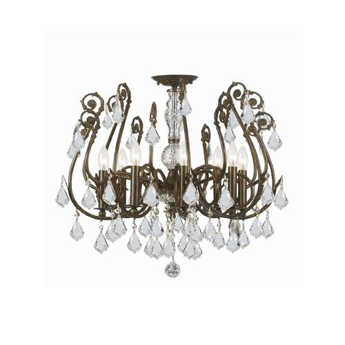 Crystorama Lighting Crystal Semi-Flushmount Light in English Bronze Finish 5118-EB-CL-SAQ