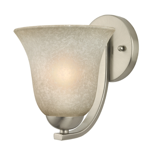 Design Classics Lighting Sconce with Caramel Glass in Satin Nickel Finish 585-09 GL9222-CAR