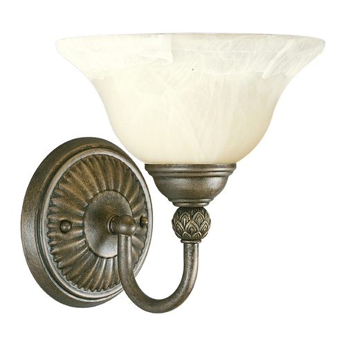 Progress Lighting Progress Sconce Wall Light with Alabaster Glass in Chestnut Finish P3204-86
