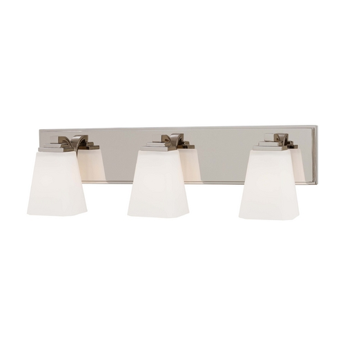 Minka Lavery Bathroom Light with White Glass in Polished Nickel Finish 4543-613
