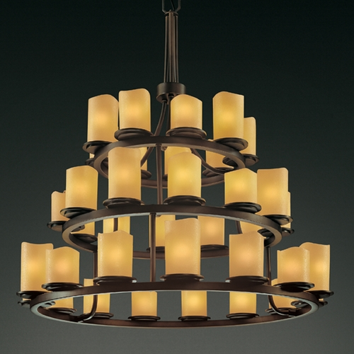 Justice Design Group Justice Design Candlearia 3-Tier 36-Light Chandelier in Dark Bronze CNDL-8712-14-AMBR-DBRZ