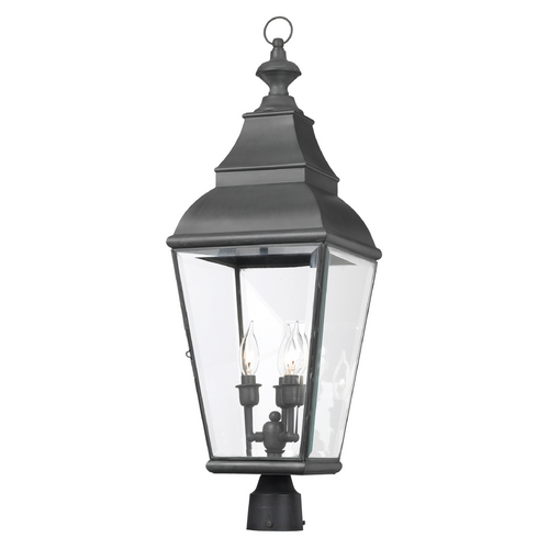 Elk Lighting Post Light with Clear Glass in Charcoal Finish 5217-C