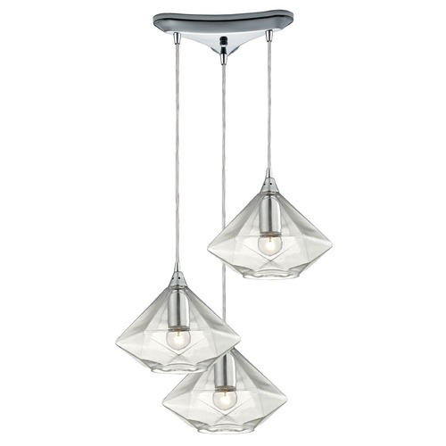 Elk Lighting Elk Lighting Geometrics Polished Chrome Multi-Light Pendant with Conical Shade 10440/3