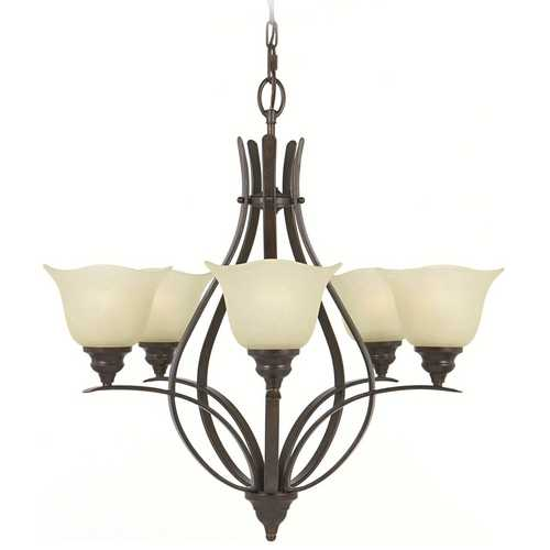 Feiss Lighting Chandelier with Beige / Cream Glass in Grecian Bronze Finish F2055/5GBZ