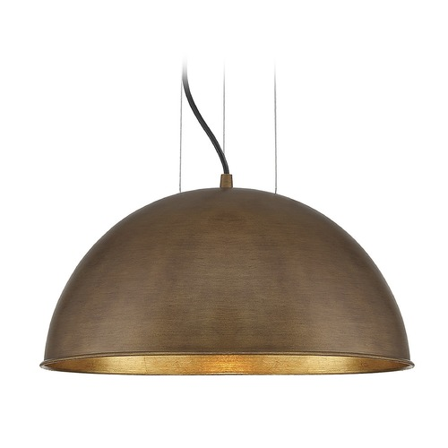 Savoy House Savoy House Lighting Sommerton Rubbed Bronze / Gold Leaf Pendant Light with Bowl / Dome Shade 7-5013-1-84