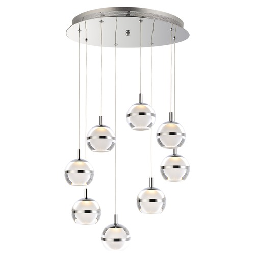 ET2 Lighting ET2 Swank Polished Chrome LED Multi-Light Pendant with Globe Shade E24598-93PC