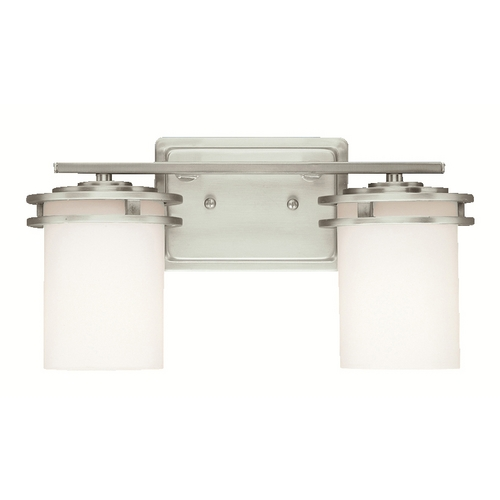 Kichler Lighting Kichler Brushed Nickel Modern Bathroom Light with White Glass 5077NI