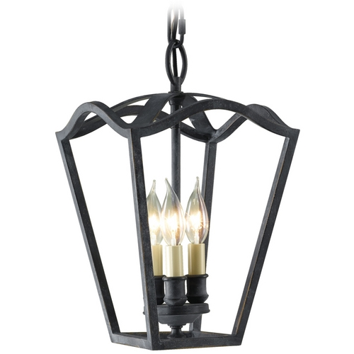 Feiss Lighting Pendant Light in Antique Forged Iron Finish F2324/3AF