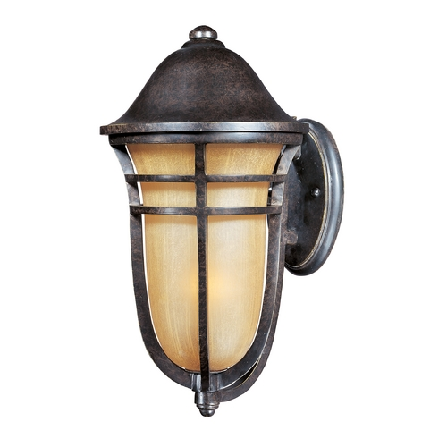 Maxim Lighting Outdoor Wall Light with Beige / Cream Glass in Artesian Bronze Finish 40103MCAT