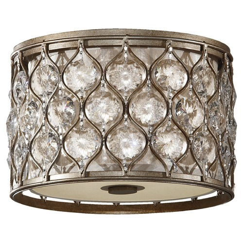 Feiss Lighting Flushmount Light with Beige / Cream Shades in Burnished Silver Finish FM355BUS