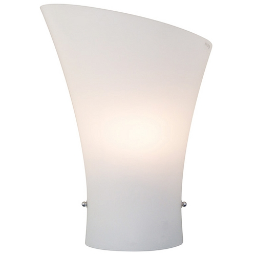 ET2 Lighting Modern Sconce Wall Light with White Glass in Satin Nickel Finish E20413-09