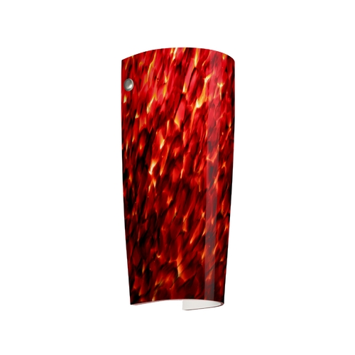 Besa Lighting Sconce Wall Light with Red Glass in Satin Nickel Finish 704141-SN