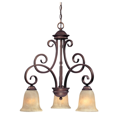Dolan Designs Lighting Chandelier with Amber Glass in English Bronze Finish 2089-133
