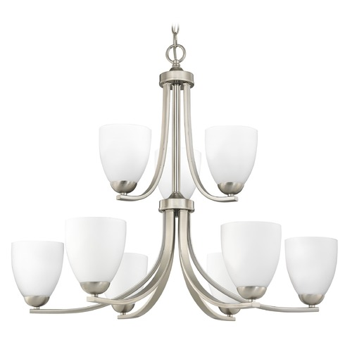 Design Classics Lighting Satin Nickel Chandelier with Nine Lights and Satin White Glass 586-09 GL1028MB