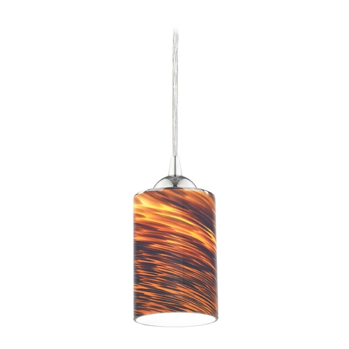 Design Classics Lighting Modern Mini-Pendant Light with Brown Art Glass 582-26 GL1023C