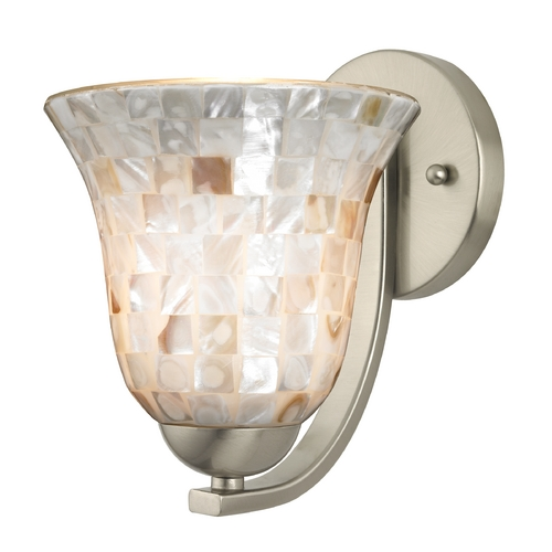 Design Classics Lighting Sconce with Mosaic Glass in Satin Nickel Finish 585-09 GL9222-M