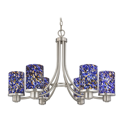 Design Classics Lighting Modern Chandelier in Satin Nickel Finish 588-09 GL1009C