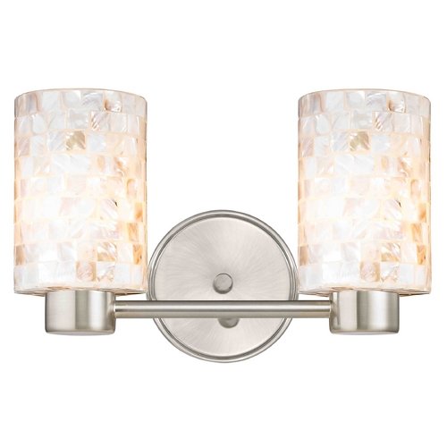 Design Classics Lighting Aon Fuse Contemporary Satin Nickel Bathroom Light with Cylinder Glass 1802-09 GL1026C