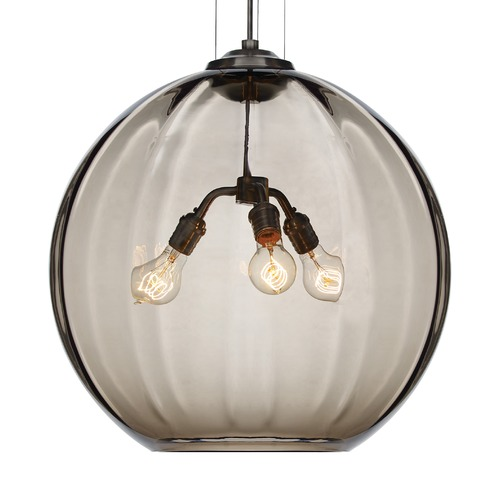 Tech Lighting Tech Lighting World Black Pendant Light with Smoke Glass 700TDWORPKB *KIT* W/LED ST19 BULB