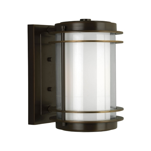 Progress Lighting Progress Modern Oil Rubbed Bronze Outdoor Wall Light with White Glass P5896-108