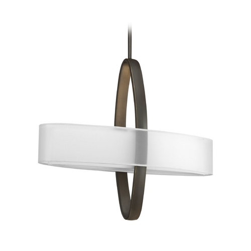 Progress Lighting Progress Modern Pendant Light with White Shades in Bronze Finish P5058-20