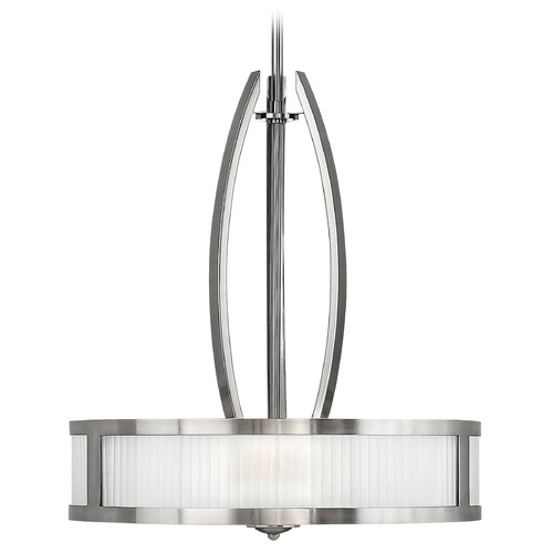 Hinkley Lighting Drum Pendant Light with White Glass in Brushed Nickel Finish 3872BN