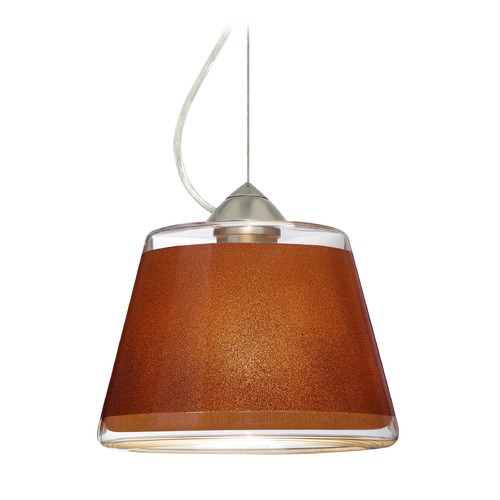 Besa Lighting Besa Lighting Pica Satin Nickel LED Pendant Light with Empire Shade 1KX-PIC9TN-LED-SN