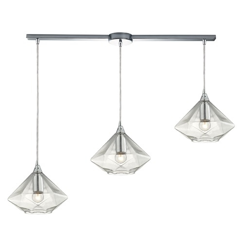 Elk Lighting Elk Lighting Geometrics Polished Chrome Multi-Light Pendant with Conical Shade 10440/3L