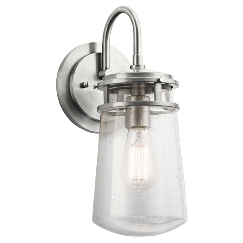 Kichler Lighting Seeded Glass Outdoor Wall Light Brushed Aluminum Kichler Lighting 49445BA