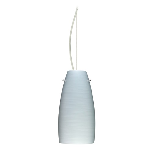Besa Lighting Besa Lighting Tao Satin Nickel LED Mini-Pendant Light with Oblong Shade 1KX-1512KR-LED-SN