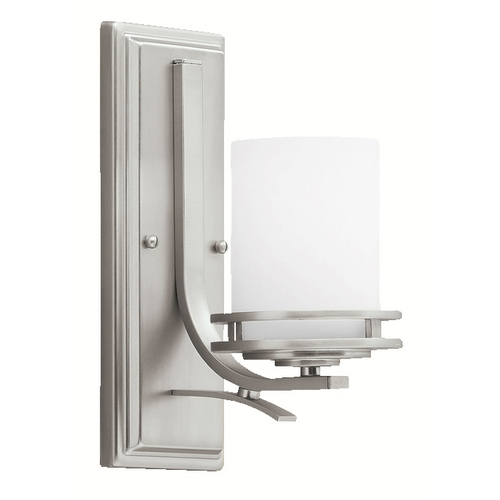 Kichler Lighting Kichler Modern Sconce Light with White Glass in Brushed Nickel Finish 5076NI