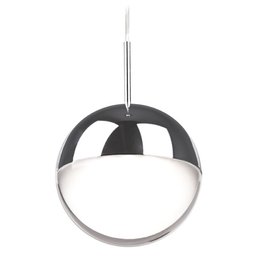 Kuzco Lighting Modern Chrome LED Mini-Pendant with Frosted Shade 3000K 300LM 402801CH-LED