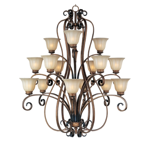 Maxim Lighting Chandelier with Beige / Cream Glass in Platinum Dusk Finish 22247WSPD
