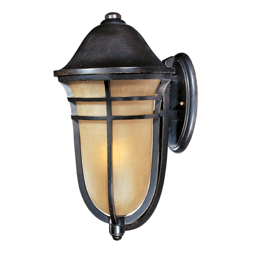 Maxim Lighting Outdoor Wall Light with Beige / Cream Glass in Artesian Bronze Finish 40104MCAT