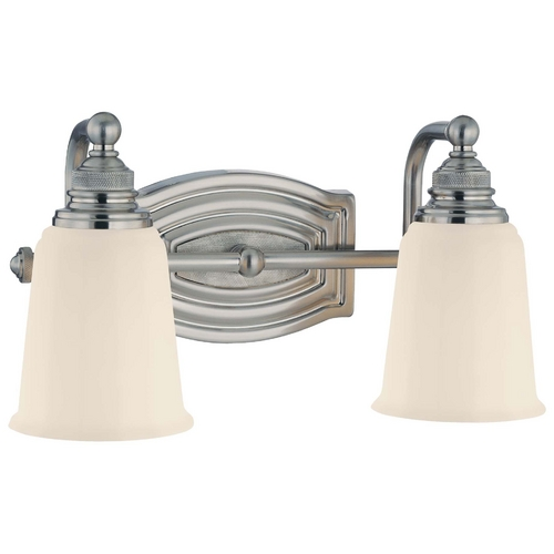 Minka Lavery Bathroom Light with White Glass in Brushed Nickel Finish 6452-84