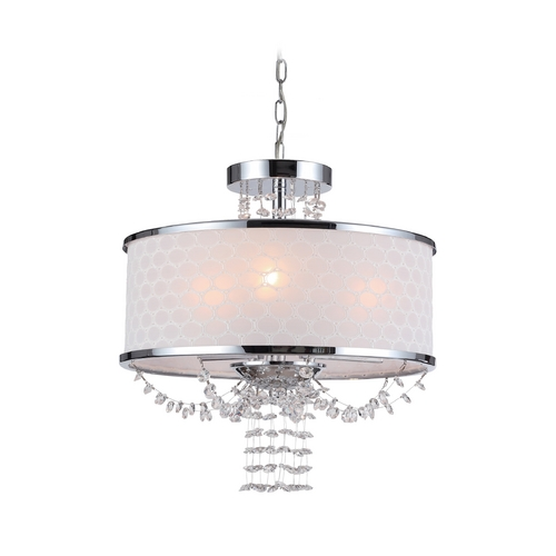 Crystorama Lighting Crystal Drum Pendant Light with White Shade in Polished Chrome Finish 9804-CH
