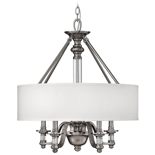 Hinkley Lighting Modern Drum Pendant Light with White Shade in Polished Chrome Finish 4797BN