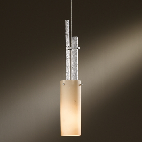 Hubbardton Forge Lighting Hubbardton Forge Lighting Ondrian Vintage Platinum Mini-Pendant Light with Cylindrical Shade 161105-82-H336