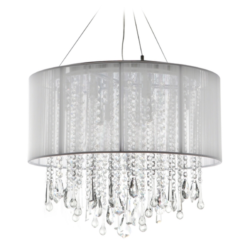 Avenue Lighting Avenue Lighting Beverly Drive Chrome Pendant Light with Drum Shade HF1502-WHT