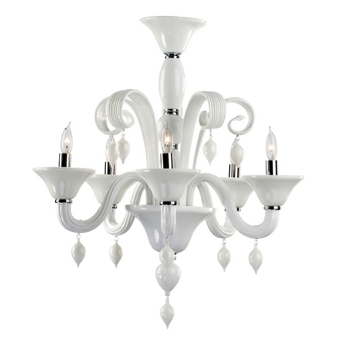 Cyan Design Cyan Design Treviso Chrome with White Chandelier 6496-5-14